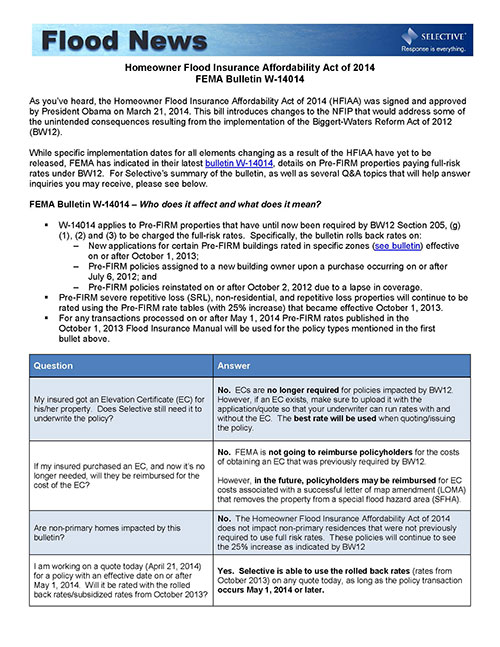 Screenshot of Selective's summary of FEMA Bulletin W-14014