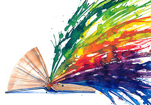 Watercolor painting of rainbow exploding from an open book