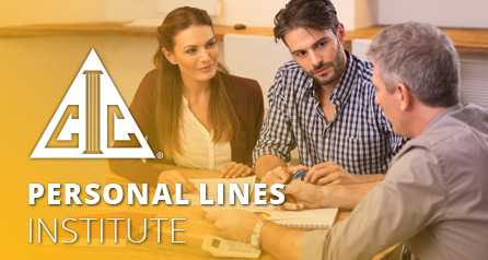 Personal Lines with CIC logo and image of a young(ish) couple consulting with a seasoned financial professional