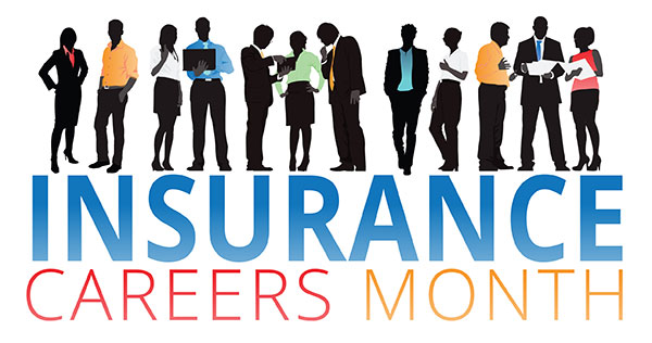 Insurance Careers Month logo - colorful lettering with silhouettes of members