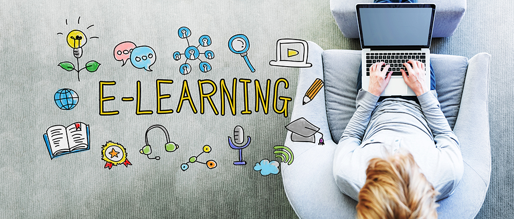 "Overhead view of blonde lady on her laptop with handdrawn colorful illustration with learning icons and ""e-learning"""