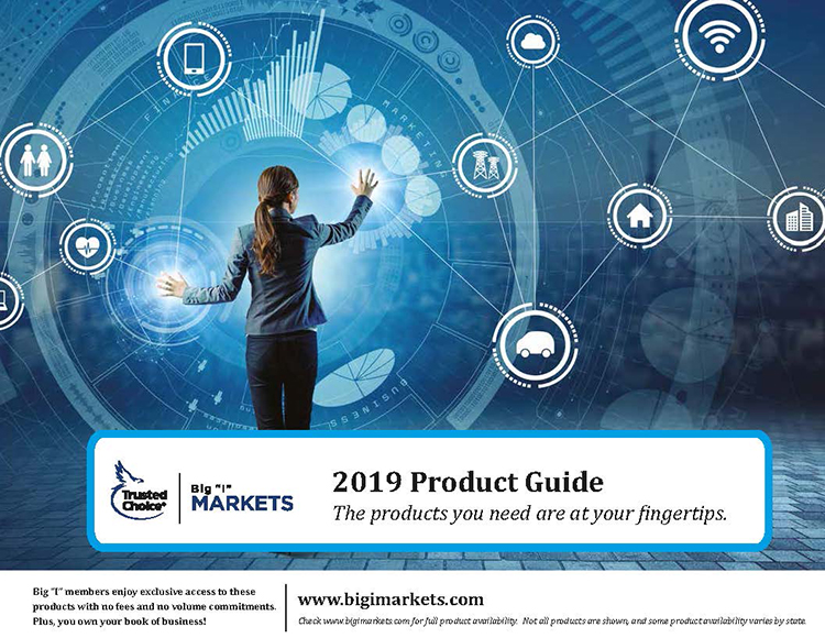 2019 Product Guide: The products you need are at your fingertips. Cover shows a professionally dressed woman using advanced tech