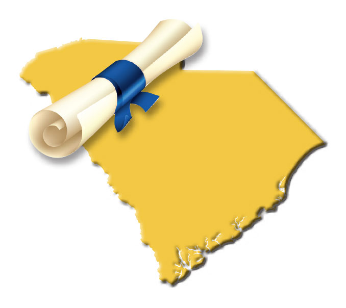 Yellow SC state outline with image of a scroll wrapped in blue ribbon.