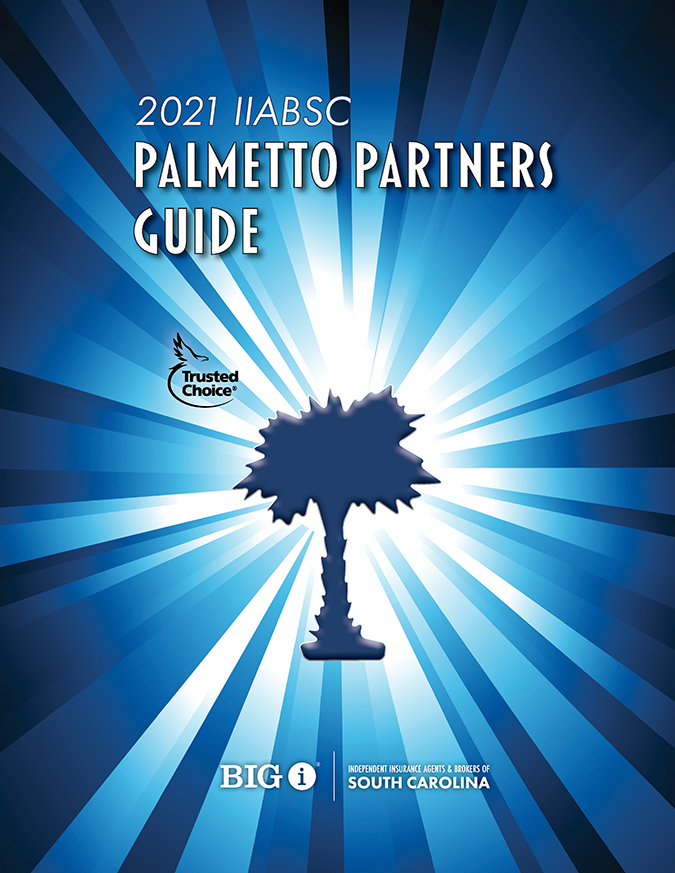 "Blue starburst with dark blue palmetto tree and the words ""2020 IIABSC Palmetto Partners Guide"" text in white"
